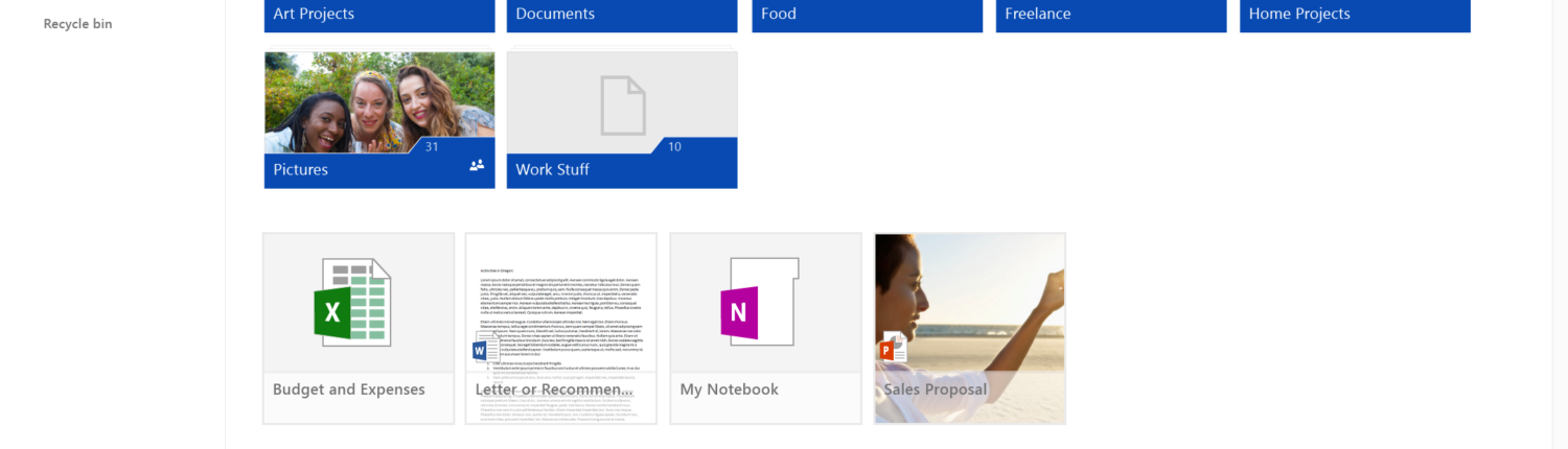 OneDrive Web view