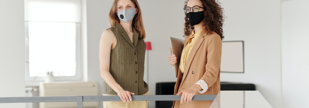 Office workers in masks