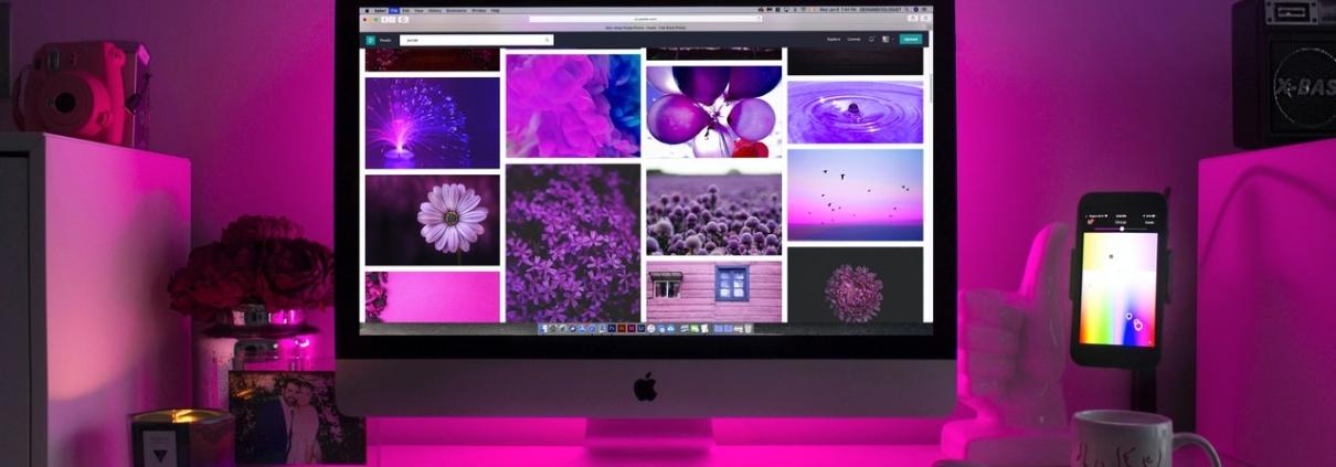 purple video wall